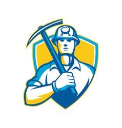Coal miner with pick ax shield retro vector