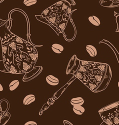 Brown coffee seamless pattern vector