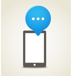 Modern mobile phone with a blue speech cloud vector