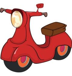 Red motor scooter cartoon vector