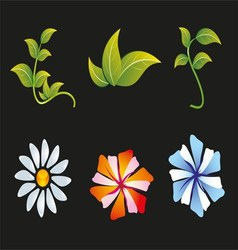 Flower and leaf icon set vector