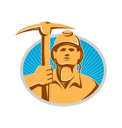 Coal miner with pick ax hardhat front retro vector