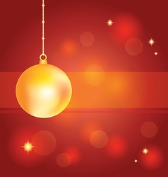 Golden christmas ball on abstract red background vector