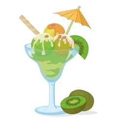 Glass with ice cream kiwifruit and nuts vector