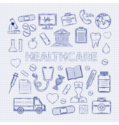 Health care set on the notebook sheet vector