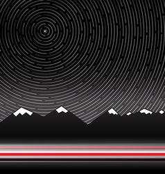 Star trails with mountains on background vector