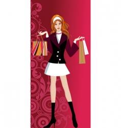 Glam shopping girl vector