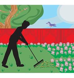 Man gardening in his garden vector