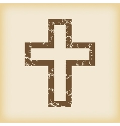 Grungy christian cross icon vector