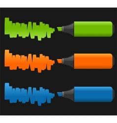 Set of highlighter pens vector