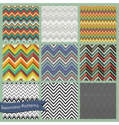 Seamless retro geometric zigzag background set vector