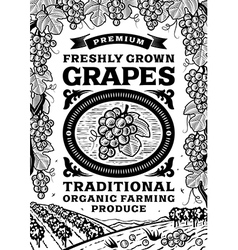 Retro grapes poster black and white vector