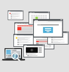 Different browser windows and modern laptop vector
