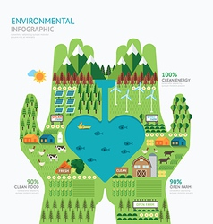 Infographic nature care hand shape template vector