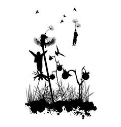 Dandelion flight fantasy concept vector