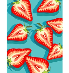 Strawberries on blue vector