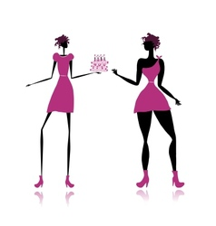 Thick and slim lady with cake for your design vector