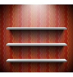 Three lightened shelves on old brown wall vector