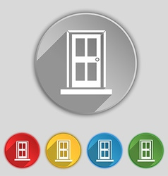 Door icon sign symbol on five flat buttons vector