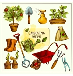 Gardening sketch set colored vector