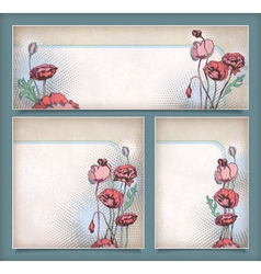 Vintage flower banners in different layout set vector