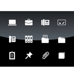 Office icons on black background vector