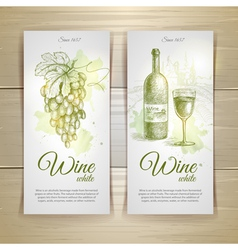 Set of wine labels grapes sketch vector
