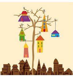 Little town tree vector