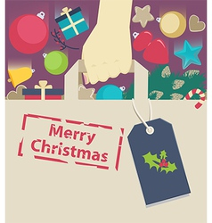 Shopping paper bag stamped with christmas wish vector