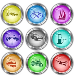 Car fueling bicycle yacht road fueling station vector