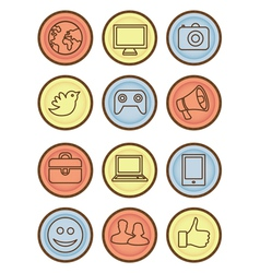 Bright badges with internet icons vector