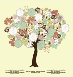 Tree silhouette with flowers symbol of nature vector