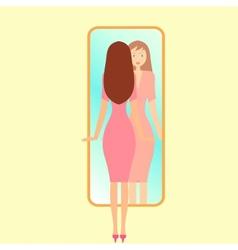 Girl looking in a mirror vector
