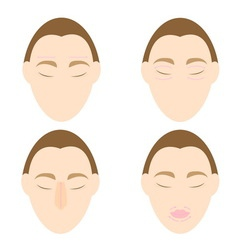 Woman easy massage anti face wrinkle 1 vector