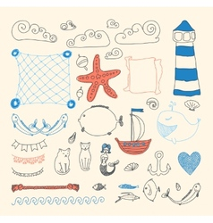 Cute sea objects collection vector
