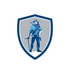 Coal miner pick axe frontpack shield retro vector
