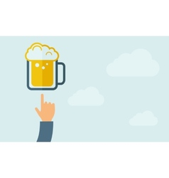 Hand pointing to a beer mug vector