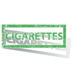 Green outlined cigarettes stamp vector