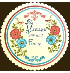 Retro floral round label vector