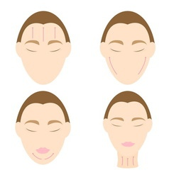 Woman easy massage anti face wrinkle 2 vector