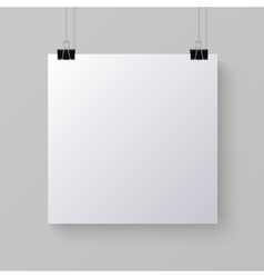 White blank square sheet of paper mock-up vector
