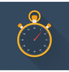 Orange stopwatch icon on a blue vector