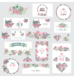 Floral cards set vector