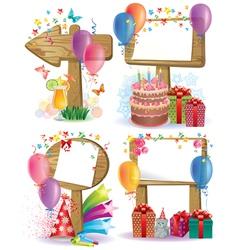 Birthday wooden sign vector