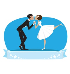 Bride groom kissing vector