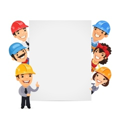 Builders presenting empty vertical banner vector