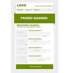 Newsletter green template vector