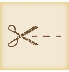 Grungy cut icon vector