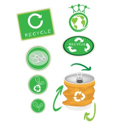 Aluminum can with recycle symbol for save world vector