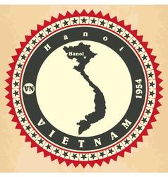 Vintage label-sticker cards of vietnam vector